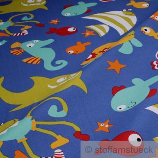 2 Meter Stoff Kinderstoff Baumwolle Polyester Rips blau Haifisch Seepferd Krebs