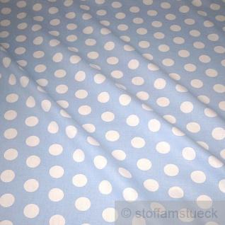 Stoff Baumwolle Punkte groß hellblau weiß Tupfen Dots Baumwollstoff