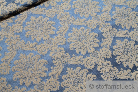 Stoff Baumwolle Polyester Jacquard marine Ornament gold 280 cm breit