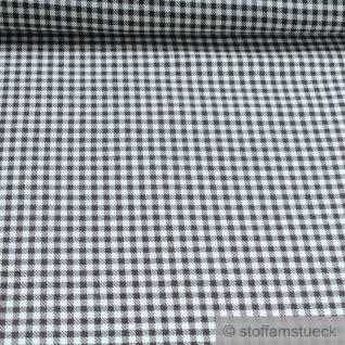 Stoff Polyester Schurwolle Vichy Karo braun wollweiß knitterfrei