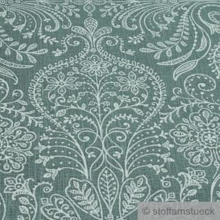Stoff Leinen Ornament grün weiß Reinleinen - Vorschau 5