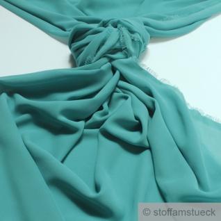 Stoff Polyester Chiffon aqua transparent leicht weich fallend