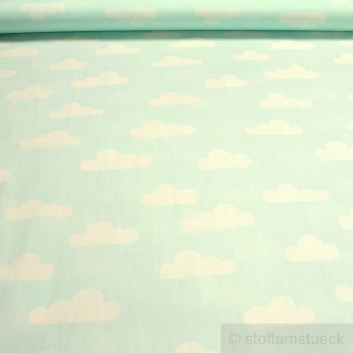Stoff Baumwolle Popeline Wolke pastelltürkis weiß Wölkchen Baumwollstoff türkis
