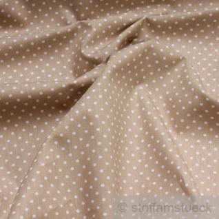 Stoff Baumwolle Punkte ganz klein beige weiß Tupfen Baumwollstoff