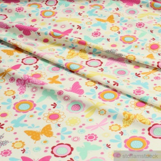 Kinderstoff Baumwolle Elastan Single Jersey ecru Blume Schmetterling Oeko-Tex - Vorschau 2