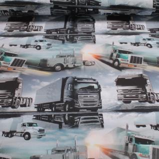 0, 5 Meter Kinderstoff Baumwolle Elastan Single Jersey LKW Truck Mercedes Benz