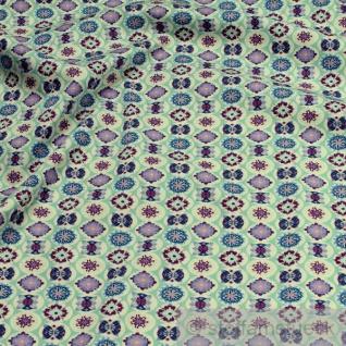 Stoff Baumwolle Popeline pastelltürkis Mandala Baumwollstoff Blume beidseitiger Druck