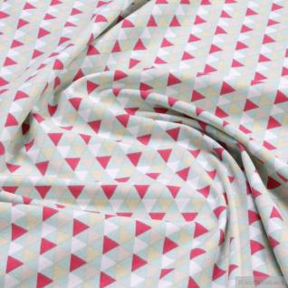 0, 5 Meter Stoff Baumwolle Elastan Single Jersey Dreieck türkis rot Geometrie