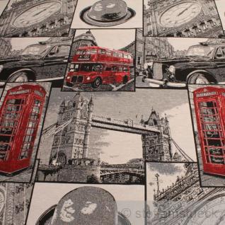 Stoff Baumwolle Polyester Jacquard London Doppeldecker Telefonzelle Big Ben