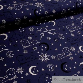 Stoff Kinderstoff Baumwolle Elastan Jersey glow in the dark dunkelblau Mond