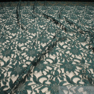 Stoff Polyamid Polyester Elastan Spitze dunkelgrün Blume fließend fallend weich
