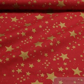 Stoff Weihnachtsstoff Baumwolle Stern rot gold Sternchen Baumwollstoff