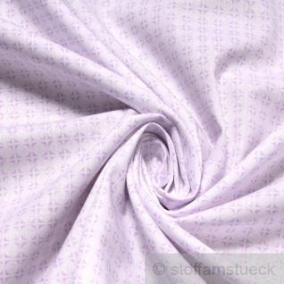 Stoff Baumwolle Popeline Kreise weiß flieder Baumwollstoff Kreis Punkt