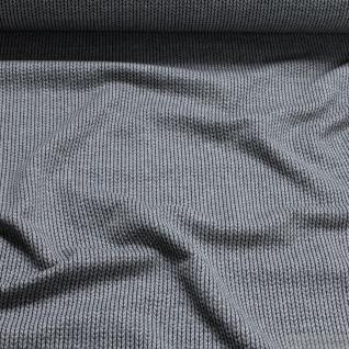 Stoff Bio-Baumwolle Jacquard Jersey Fischgrat grau 3D-Optik Maschenoptik