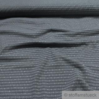 0, 5 Meter Stoff Baumwolle Elastan Single Jersey schwarz Raute grau Glitzer