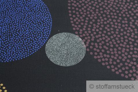 Stoff Baumwolle Panama schwarz Kreis weinrot ecru Flammgarn kobaltblau Punkt - Vorschau 4