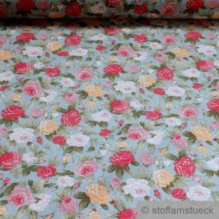 Stoff Baumwolle hellblau Rose Rosen Baumwollstoff weich leicht