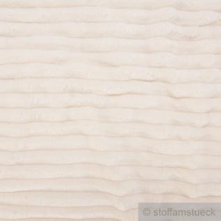 Stoff Polyester Minky Fleece natur Streifen Soft Fleece Mole Fleece Softplüsch
