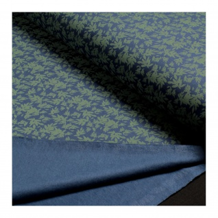 Stoff Baumwolle Elastan Single Jersey blau Blatt oliv angeraut Blätter - Vorschau 4