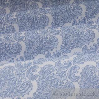 Stoff Polyester Baumwolle Ornament weiß hellblau feingezeichnet - Vorschau 2