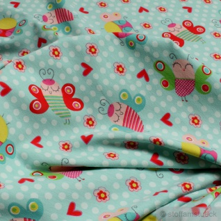 Kinderstoff Baumwolle Elastan Single Jersey türkis Schmetterling Oeko-Tex Standard