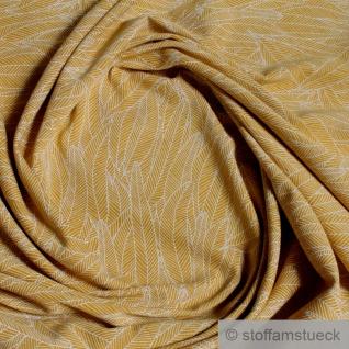 0, 5 Meter Stoff Baumwolle Elastan Single Jersey ocker Feder beige