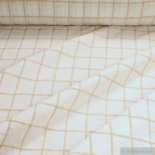 Stoff Baumwolle ecru Karo natur Baumwollstoff natürlich schlicht stilvoll weich