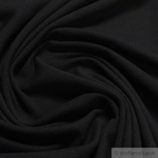 Stoff Baumwolle Piqué Jersey schwarz Polohemd T-Shirt breit dehnbar weich