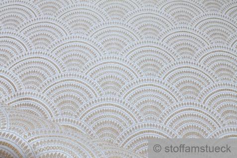 Stoff Polyester Baumwolle Gobelin Welle ecru gold Japan Muster Seigaiha