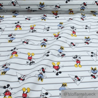 0, 5 Meter Stoff Baumwolle Elastan Single Jersey weiß Micky Maus Mickey Mouse