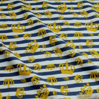 Stoff Baumwolle Elastan Single Jersey Streifen dunkelblau weiß Krone Öko-Tex