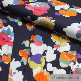 0, 5 Meter Stoff Viskose Elastan Single Jersey dunkelblau Klecks bunt digital