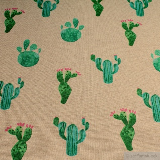Stoff Baumwolle Polyester Rips natur Kaktus nicht stachelig ! Kakteen - Vorschau 2