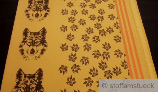 0, 5 Meter Panel Stoff Baumwolle Elastan Single Jersey ocker Wolf angeraut