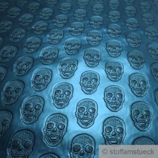 Stoff Kunstleder Totenkopf petrol glänzend