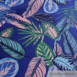 Stoff Baumwolle Polyester kobaltblau Dschungel Palme Blatt Blätter blau - Vorschau 3