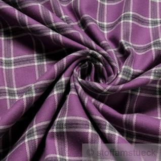 Stoff Baumwolle Flanell Karo lila anthrazit bügelarm Baumwollstoff