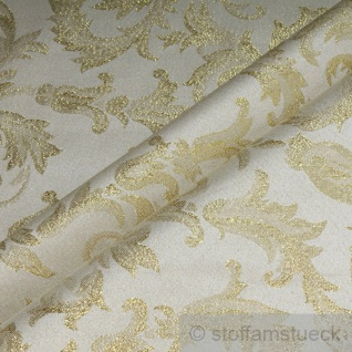 Stoff Polyester Jacquard Ornament ecru gold Lurex Goldbrokat Barock Rokoko 280 cm überbreit