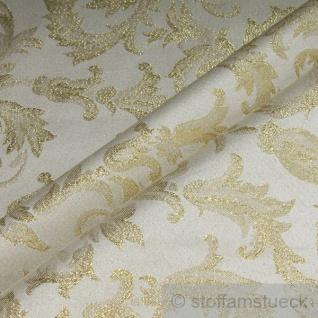 Stoff Polyester Jacquard Ornament ecru gold Lurex Goldbrokat Barock Rokoko 280