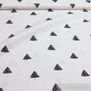 Stoff Baumwolle weiß Dreieck schwarz Baumwollstoff Dreiecke Geometrie