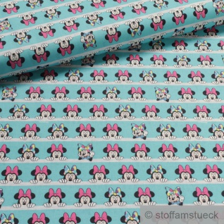 Stoff Kinderstoff Baumwolle türkis Minnie Mouse Baumwollstoff