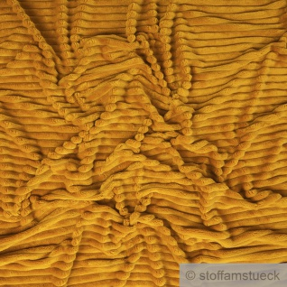 Stoff Polyester Minky Fleece ocker Streifen Soft Fleece Mole Fleece