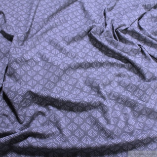 0, 5 Meter Stoff Baumwolle Elastan Single Jersey Blatt grau hellgrau Blättchen