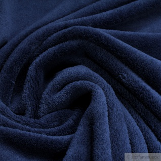 Stoff Polyester Wellness Fleece dunkelblau Kuschelfleece blau marine