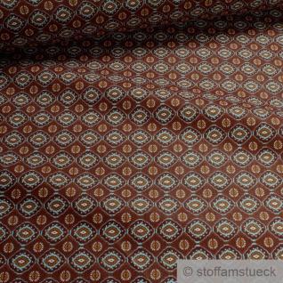 Stoff Baumwolle terracotta Blumen Raute Baumwollstoff