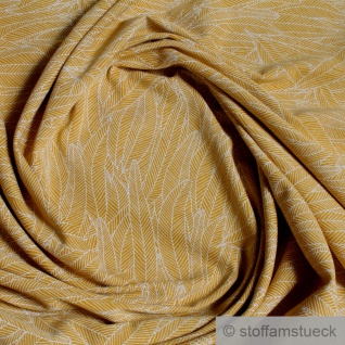 Stoff Baumwolle Elastan Single Jersey ocker Feder beige
