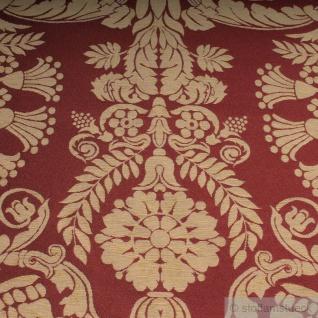 Stoff Polyester Baumwolle Jacquard Ornament klein bordeaux gold 280 cm breit - Vorschau 3