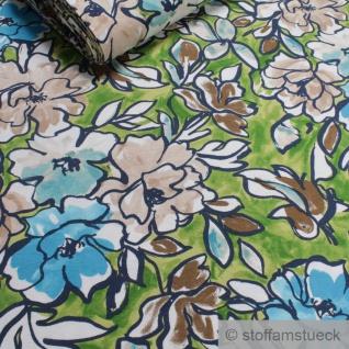 0, 5 Meter Viskose Elastan Single Jersey hellgrün Blume fließend fallend Blumen