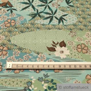 Stoff Viskose Popeline türkis Blumenwiese leicht weich Blumen Blüten - Vorschau 3