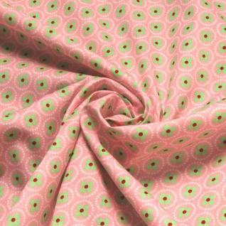 10 Meter Stoff Baumwolle rosa Prilblume hellgrün Baumwollstoff Blume - Vorschau 4